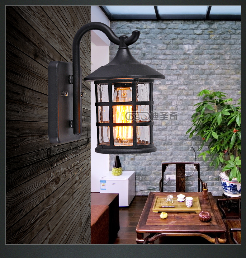Vintage Rustic Iron Waterproof Wall Lamp Kerosene Lantern Light Rusty Matte Corridor For Doorway Gate Hallway