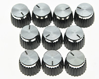KAISH Pack Of 50 Guitar Amplifier Knobs Black Silver Cap Fits Marshall AMP Amplifiers