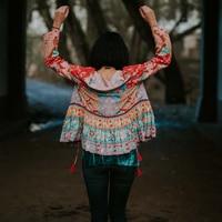 Khale Yose Summer 2019 Floral Print Jacket Long Sleeve Boho Jacket For Women Tassels Gypsy Folk Hippie Chic Female Jackets New