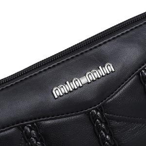 Image 5 - Leder frauen tasche weben muster schaffell mini schulter taschen damen kupplungen klassischen handy paket