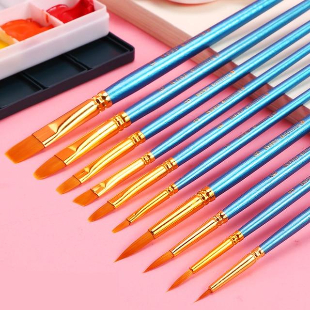 BGLN 10 unids/set pinceles de pintura de goucache de acuarela de diferentes formas punta redonda de Nylon para pintar el pelo conjunto de brochas de arte suministros