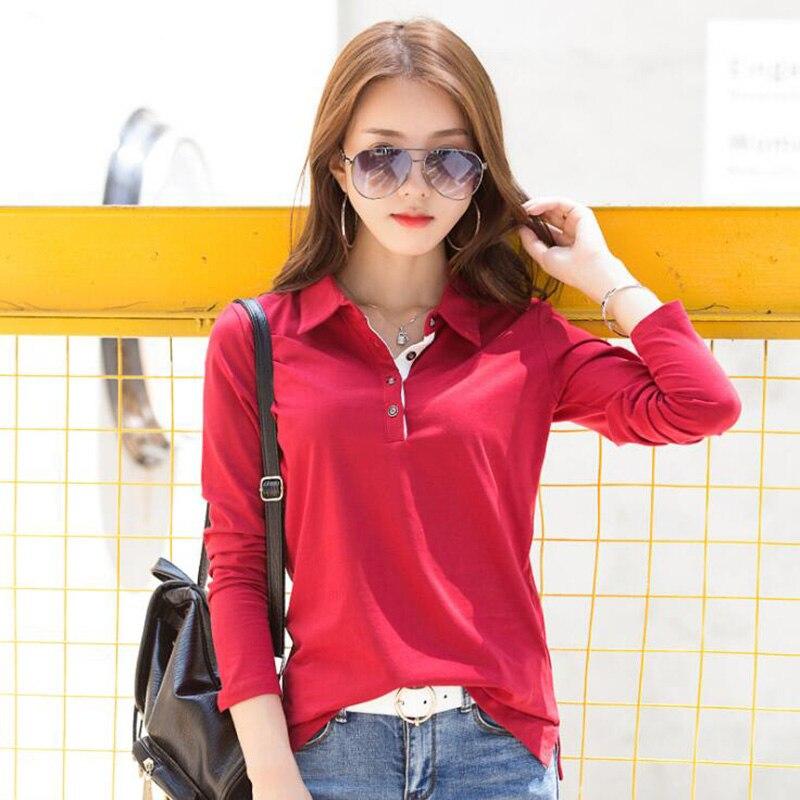 9239c5f8d68 SEBOWEL de mujer de manga larga camisa de Polo otoño Primavera de 2019 de  algodón de moda más tamaño de Polos Fondo solapa camisetas Tops en Camisas  de Polo ...