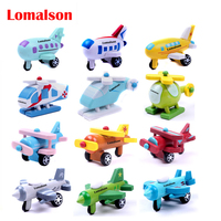 12 PCS/ Set Export Children Diecasts Wooden Airplane Toys 5CM Minicar Model Vehicle / Wooden Mini Airplane Baby Toys Kids Gift