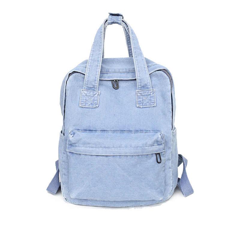 aa88756f93fd Простой повседневный джинсовый женский рюкзак с ручкой джинсы для девочек  Дорожная сумка рюкзак женский ковбойский школьный