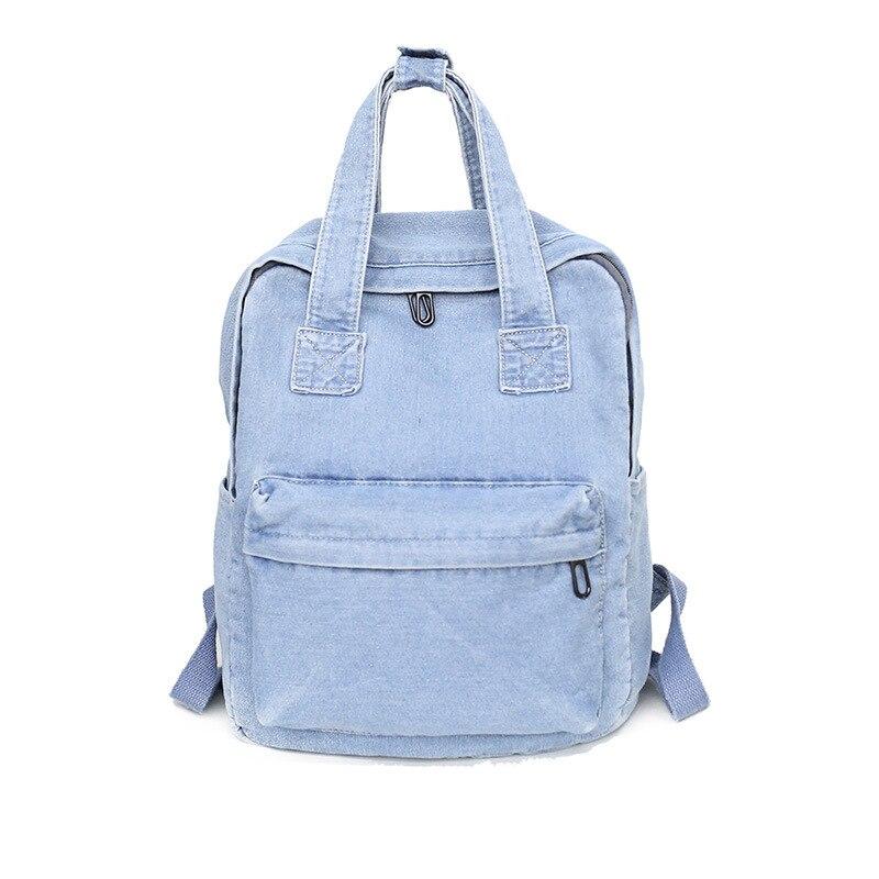 Simple Casual Denim Women Backpack With Handle Jeans Girls Travel Bag Daypack Female Cowboy School Bag Design Teenagers Rucksack