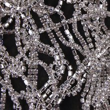 ZOTOONE SS10 1Yard Rhinestones for Clothing Stones White Clear Crystals Cup Chain Rhinestone Trim Sew on Ornament Accessories E