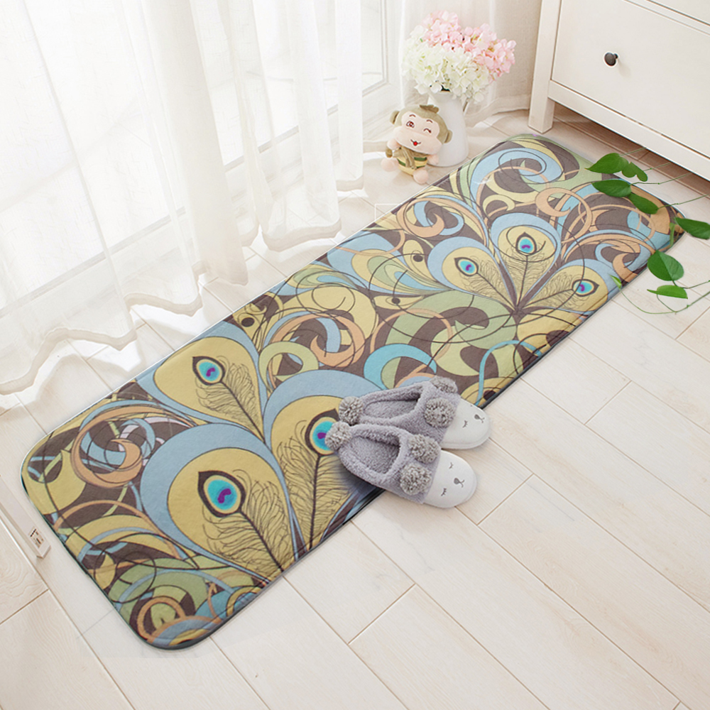 Yazi Flannel Soft Carpet Plush Peacock Tail Print Floor Door Mat Bedroom Area  Rug Doormat Home Kitchen Hallway Decor Tapete