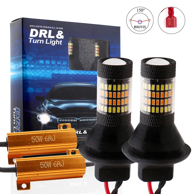ba15s BAU15S 1156 p21w s25 96led T20 W21W WY21W 7440 light Daytime Running Light DRL LED Turn Signal Dual Mode External Lights image