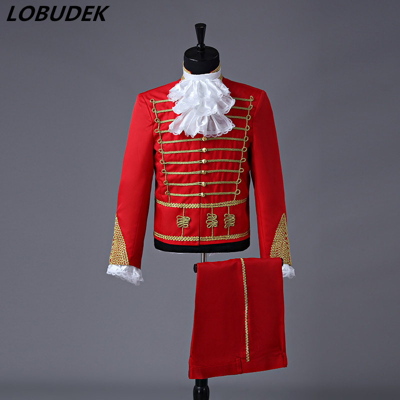 Men Drummer Costume Red Black Court Suits European Style  Singer Chorus Performance Outfit Wedding MC Compere Stage Suit