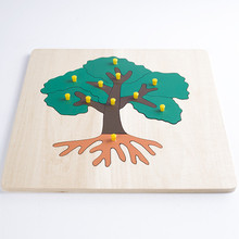 Új fából készült Baby Toys Tree Mozaik Puzzle Baba Oktatás Toy Baby Ajándékok