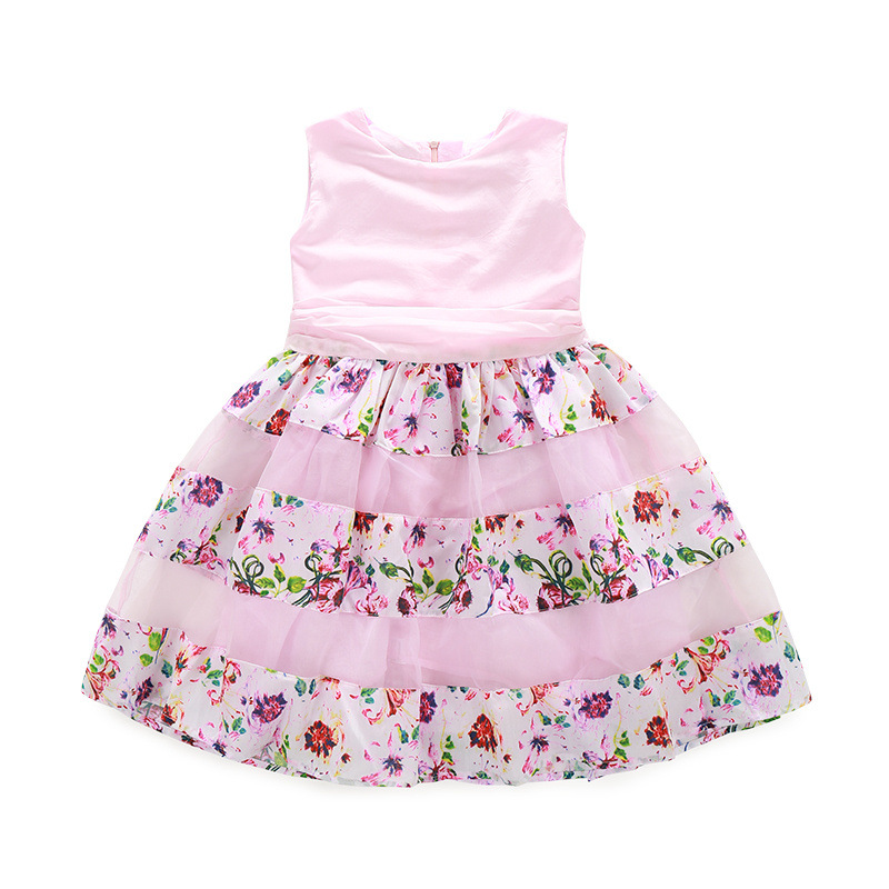 Bongawan New 2018 Summer Baby Girls Dress with Floral Print Big Bow Tutu Princess Dresses for Girls Ball Party or Birthday Gift 2018 girls dresses bow leaf print