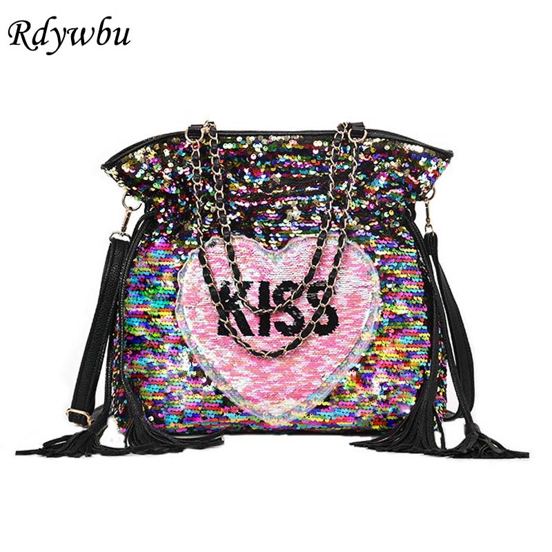 Rdywbu Glitter Sequins Chain Tote Shoulder Bag Women Laser KISS Letters  Embroidery Crossbody Bag Heart Tassels Travel Bag B177-in Shoulder Bags  from Luggage ... 67de11548151