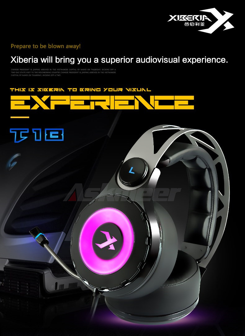 XIBERIA T18 Stereo Gaming Headphones with Microphone 7.1 Surround Sound Deep Bass Gamer Headset for Computer Best casque (1)