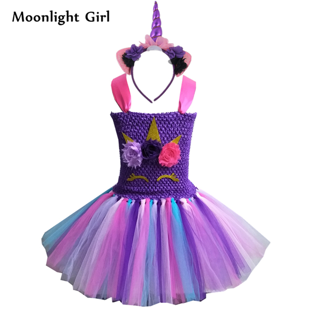 91ec5e8d8c Kids Girls Unicorn Tutu Dress With Headband Purple Pony Unicorn Birthday  Party Dresses Girls Halloween Costume Cosplay bg041