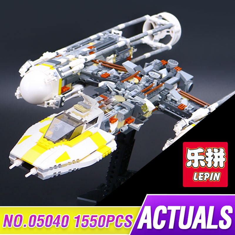 Lepin 05040 1550pcs Star Series Wars Y Set Wing Attack Starfighter Building Block Assembled brick Toys Compatible with 1013 lepin 05040 star wars y wing attack starfighter model building kits blocks brick toys compatiable with lego kid gift set