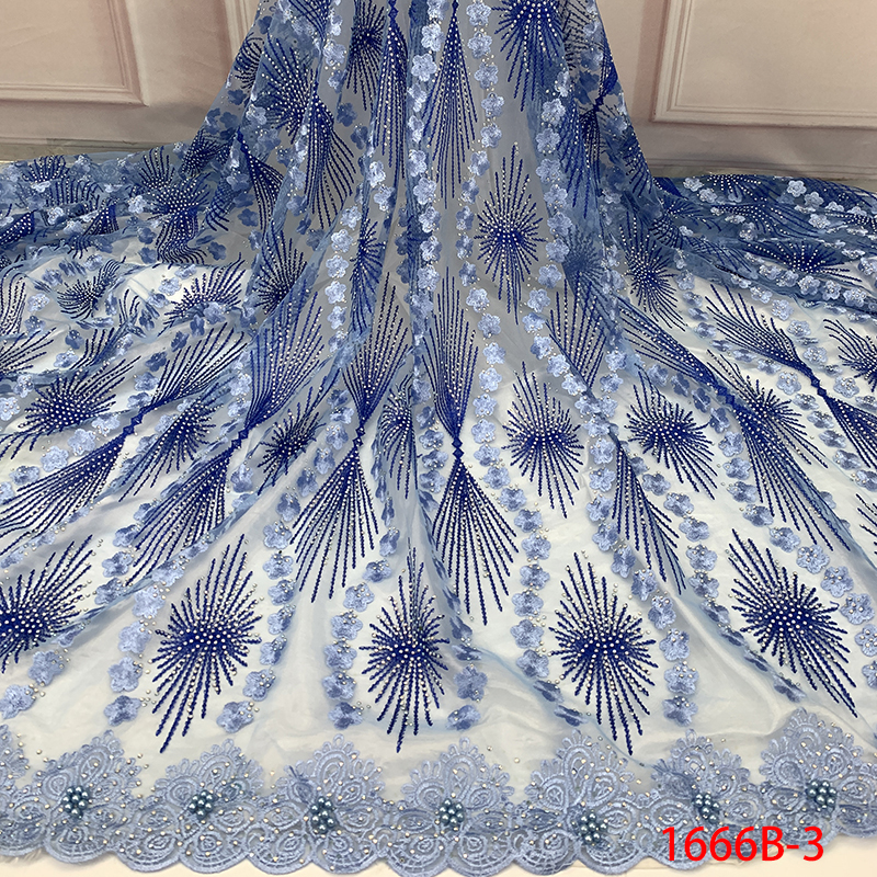 High Quality African Tulle Lace Fabric Flower Embroidery 2019 French Lace Fabric With Stones Beads For Women KS1666B-3