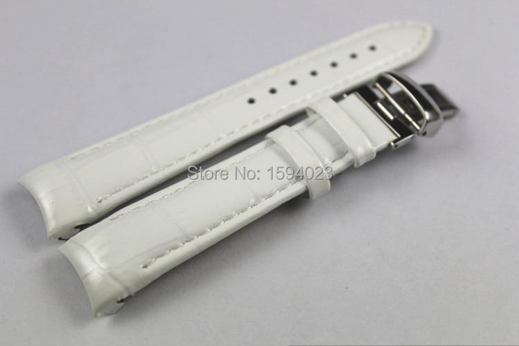 """18 מ""""מ (אבזם 16 מ""""מ) T035210A T035207 באיכות גבוהה אבזם פרפר כסף + רצועות להקות שעון עור אמיתי לבן T035"""