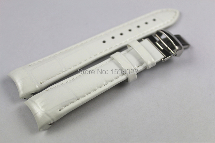 18mm (Buckle16mm) T035210A T035207 Hochwertige silberne Butterfly-Schnalle + weißes Echtleder-Uhrenarmband für T035