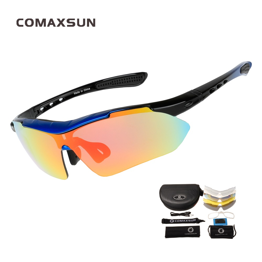 COMAXSUN Professional Polarized Cycling Glasses 자전거 고글 야외 스포츠 자전거 선글라스 UV 400 with 5 Lens TR90 5 color