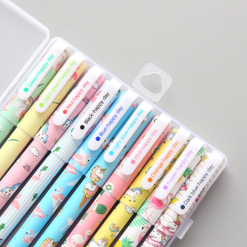 10pcs/Box Kawaii Novelty Colored Ink Unicorn Flamingos Plastic Gel Pen Creative Neutral Pens For Kids Gift Chancery Stationery