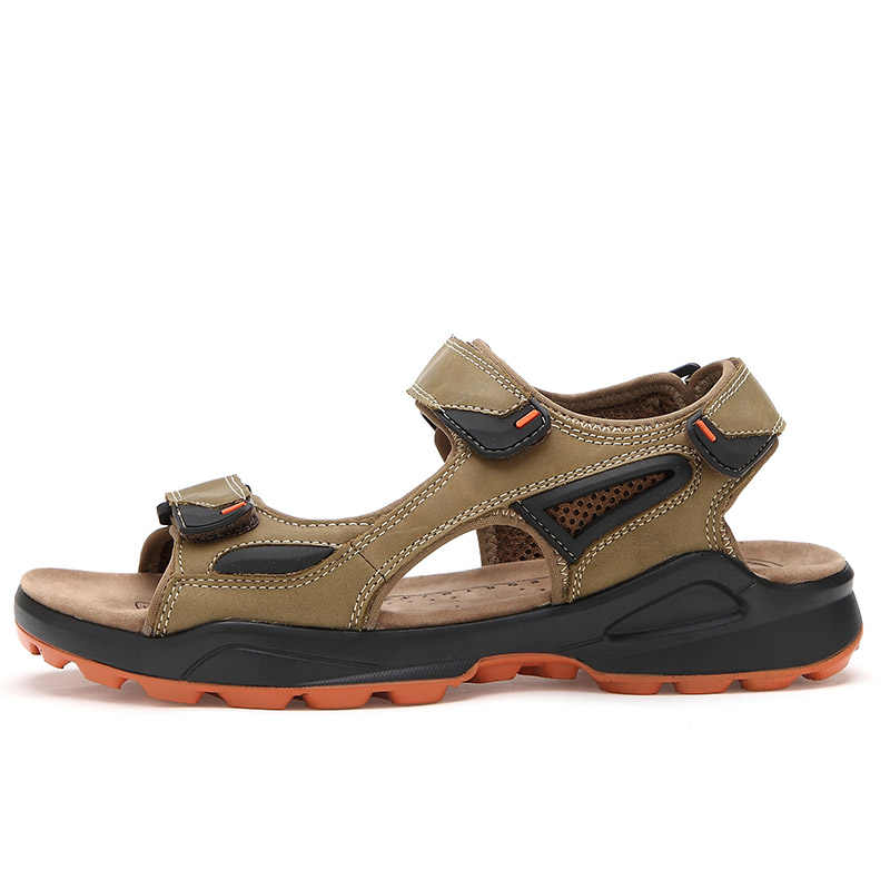 ROXDIA nowe mody oddychające męskie sandały prawdziwej skóry letnie męskie sandały plażowe przyczynowe męskie buty Plus rozmiar 39-46 RXM008
