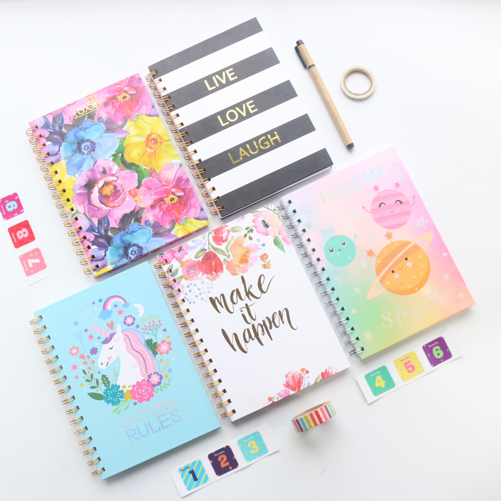 Domikee new cute hardcover school coil spiral composition notebooks school stationery supplies,college line paper,80 sheets,A5 a5 b5 spiral cute notebook new school stationery horizontal page daily memos top quality paper school supplies composition book