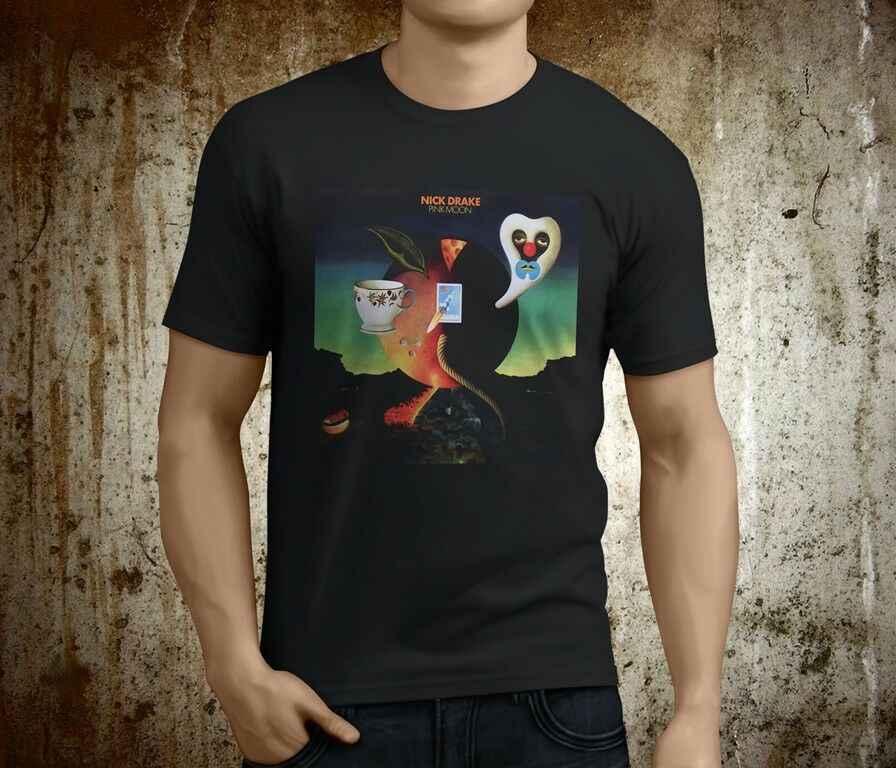 ใหม่ Cool Nick Drake สีชมพู Moon นักร้องและนักดนตรีผู้ชายสีดำเสื้อยืดขนาด S-3XL, แฟชั่นสไตล์ผู้ชาย Tee,100% ผ้าฝ้าย tee
