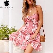 Lily Rosie Girl Spaghetti Strap Sweet Summer Dress Print Floral Boho Beach Dress Pink Mini Bow Ruffles Maxi Dress
