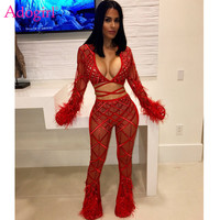 Adogirl Feather Lace Sequins Sheer Mesh Sexy Club Two Piece Set Deep V Neck Bell Sleeve Lace Up Crop Top + Flare Pants Outfits