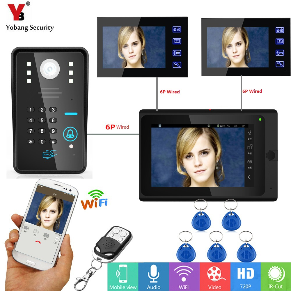 YobangSecurity APP Remote Control Video Intercom 3x 7 Inch LCD Wifi Wireless Video Door Phone Doorbell Intercom Camera Monitor yobangsecurity 6 units apartment video intercom 7 inch lcd wifi wireless video door phone doorbell video recording app control