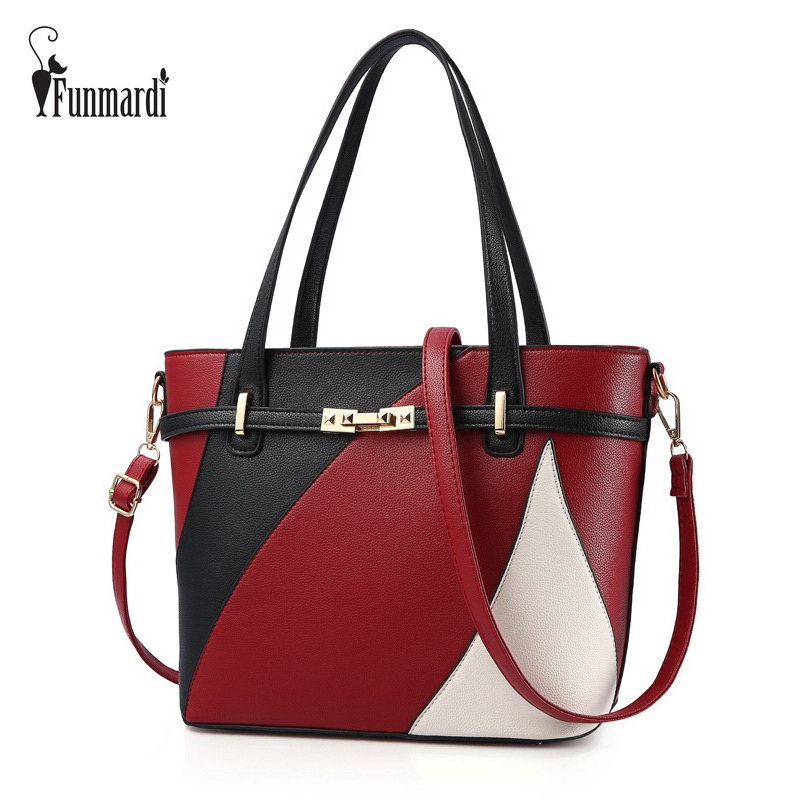 FUNMARDI Panelled Colors Leather Top-handle Bags High capacity Leather Handbags Luxury Totes Bag Fashion Shoulder Bag WLHB1730