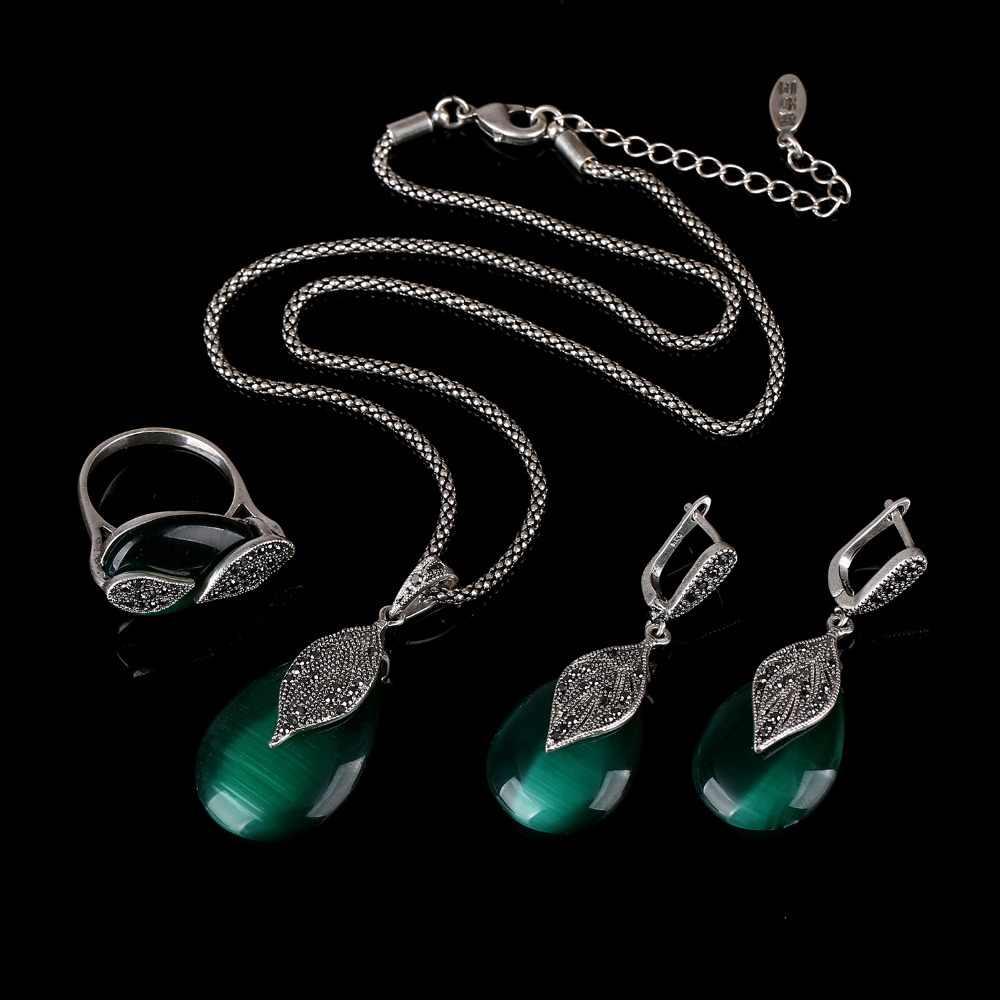 Kของแกดเจ็ตWaterdropธรรมชาติหินโอปอลสีเขียวเครื่องประดับชุดสีดำคริสตัลR Hinestoneวินเทจสีเงินเครื่องประดับชุดผู้หญิง