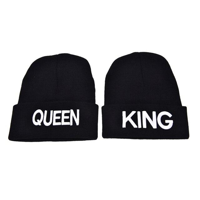 cfaeb6c58f2 Unisex Couple King Queen Beanie Winter Hats Cap Men Women Knitted Hiphop Hat  Warm Winter Cap
