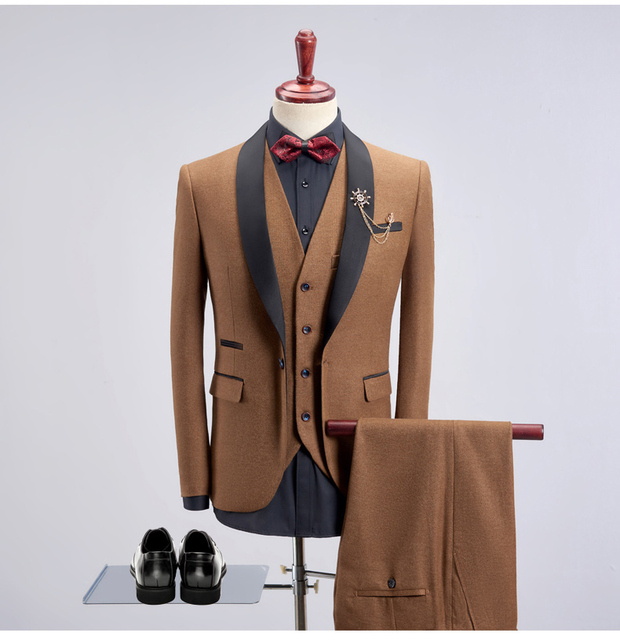 2018 New Collar Patched Latest Coat Pant Designs Men Wedding Suits 3