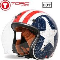 TORC Motorcycle Retro Half Face Helmet Street Motorbike Vintage Open Face Helmet For Halley Motor For