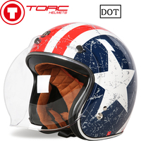 TORC Motorcycle Retro Half Face Helmet Street Motorbike Vintage Open Face Helmet For Halley Motor For