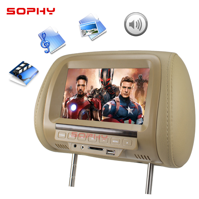 Image 3 - Universal 7 inch Car Headrest MP4 Monitor / Multi media Player / Seat back MP4 / USB SD MP3 MP5 FM Built in Speakers-in Car Monitors from Automobiles & Motorcycles