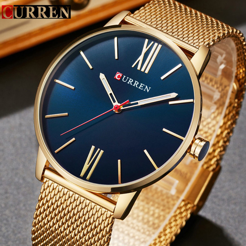 CURREN Top Brand Mens Watches Luxury Quartz Casual Watch Men Stainless Steel Mesh Clock relogio masculino 8238 Drop Shipping bgg brand creative two turntables dial women men watch stainless mesh boy girl casual quartz watch students watch relogio