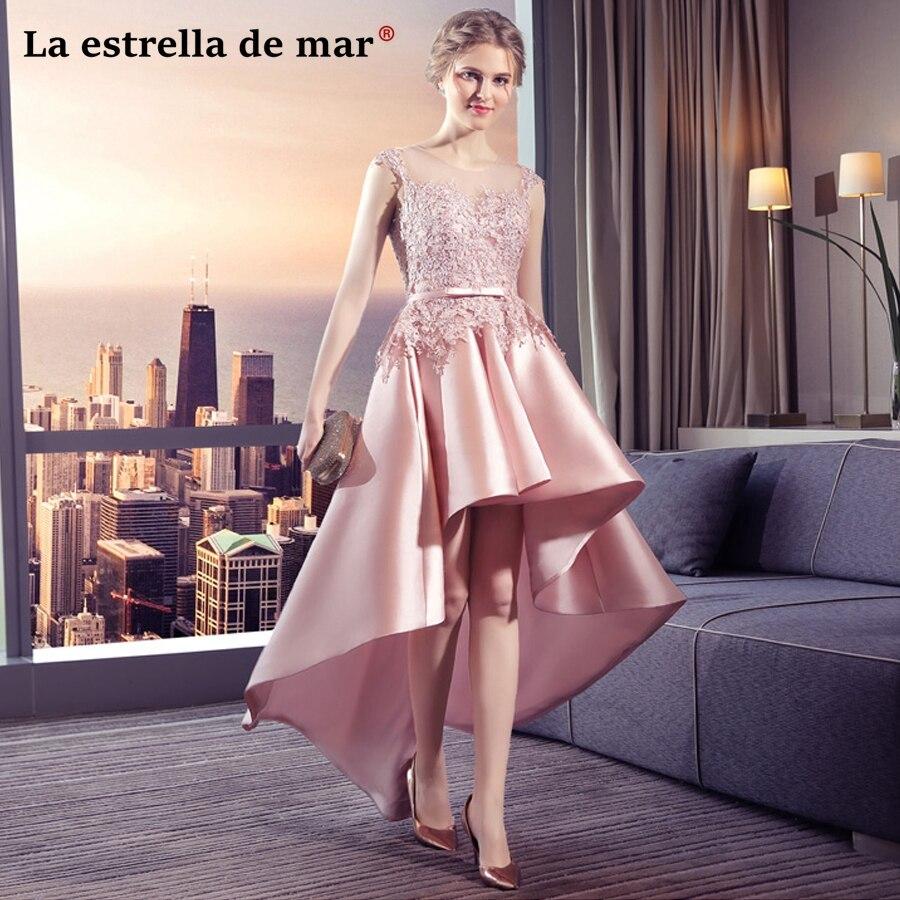 Robe demoiselle d'honneur2018 nouvelle dentelle et satin cap manches blush demoiselle d'honneur robes élégant haut bas longueur robe de mariage
