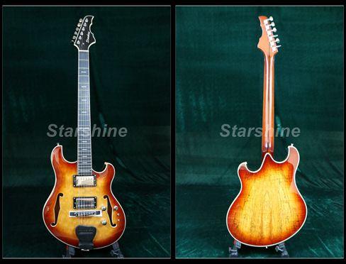 Starshine corps creux guitare électrique XY-LG70 Style Languedoc matelassé érable haut bon micros 3 pièces érable cou Grover accordeur