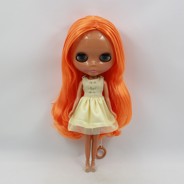 все цены на Nude black Blyth doll orange long hair for change blyth doll DIY 12 fashion dolls for girls