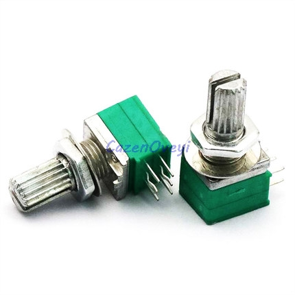 5pcs/lot RK097G 20K Single Linked Potentiometer B20K With A Switch Audio 6pin Shaft 15mm Power Amplifier Sealing Potentiometer
