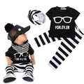 New Fashion Baby Boy 3-piece Children Sets  Outfit T-shirt +Pants Leggings +Scarf  Black and white Striped Clothes Set 0-24M