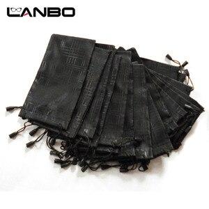 Image 3 - LANBO 100 개/몫 안경 케이스 소프트 방수 격자 무늬 천으로 선글라스 가방 안경 파우치 블랙 컬러 도매 좋은 품질 S11