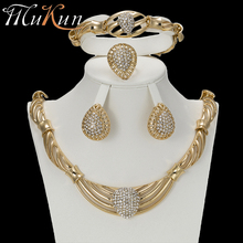 MuKun 2018 African Beads Jewelry for Women Sets Nigerian Bridal Wedding Set Costume Gold Color set