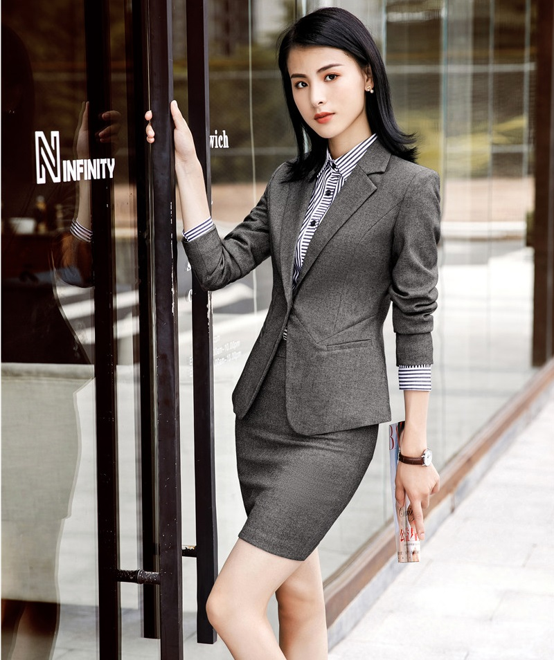 Fashion Grey Autumn Winter Business Formal Blazers Suits With Jackets And Skirt For Women Office Ladies Work Wear OL Styles