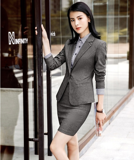 19bee07f62 Fashion Grey Autumn Winter Business Formal Blazers Suits With Jackets And  Skirt For Women Office Ladies Work Wear OL Styles