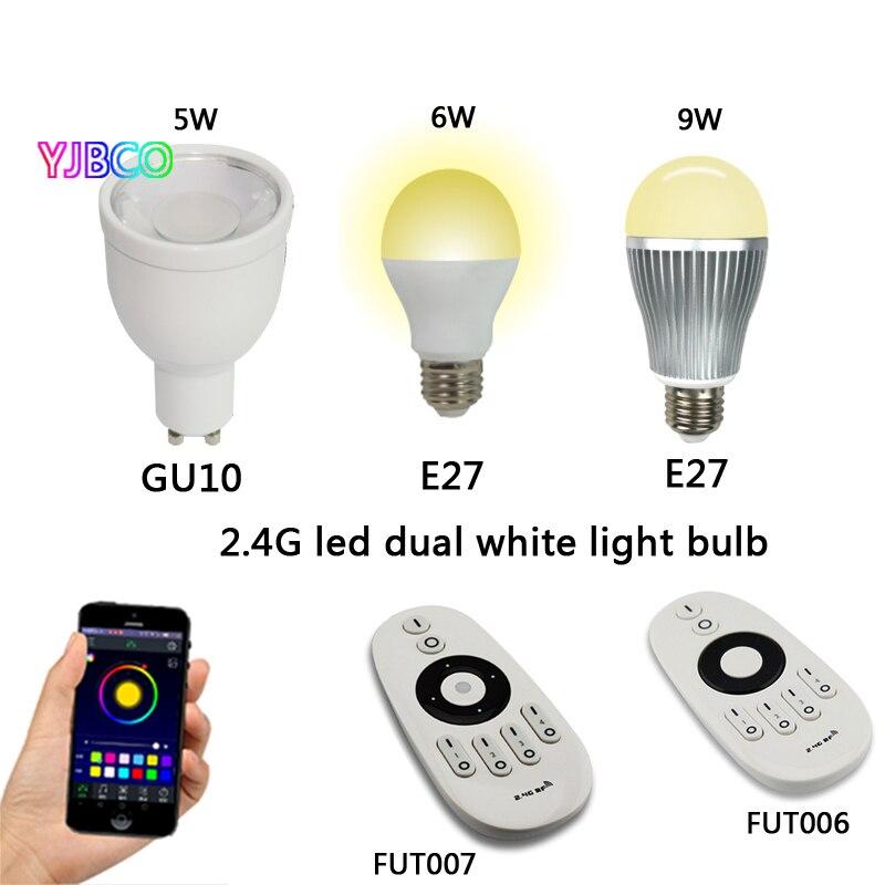 5 W 6 W 9 W GU10 E27 Milight LED Dual blanco base de la bombilla de la lámpara del arancel aduanero común AC85-265V y FUT006 FUT007 2,4g 4 zona led control remoto