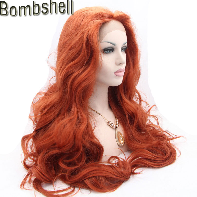 Bombshell Synthetic Hair Long Wavy Lace Front Wig Orange color Guleless Heat Resistant Hair Women lace
