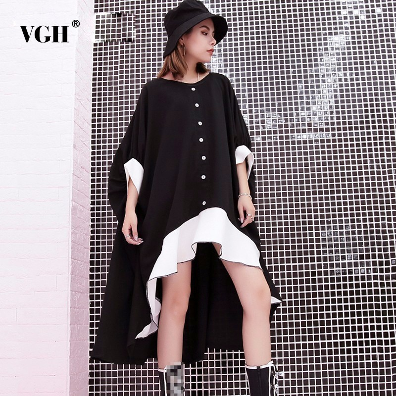VGH 2018 Ruffles Black Dress For Women Batwing Sleeve Hit Colors O Neck Loose Big Size Dresses Female Clothes Fashion Tide New